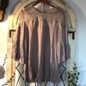 Embroidered nude top